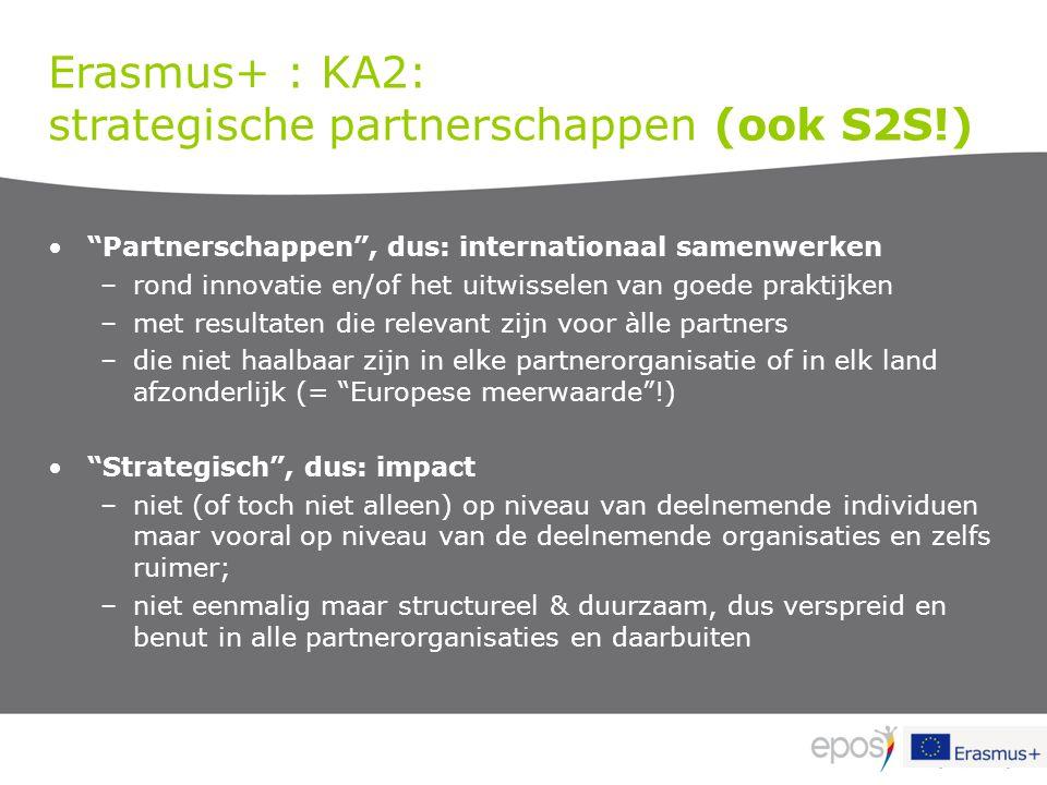 """Erasmus+ : KA2: strategische partnerschappen (ook S2S!) """"Partnerschappen"""", dus: internationaal samenwerken –rond innovatie en/of het uitwisselen van g"""