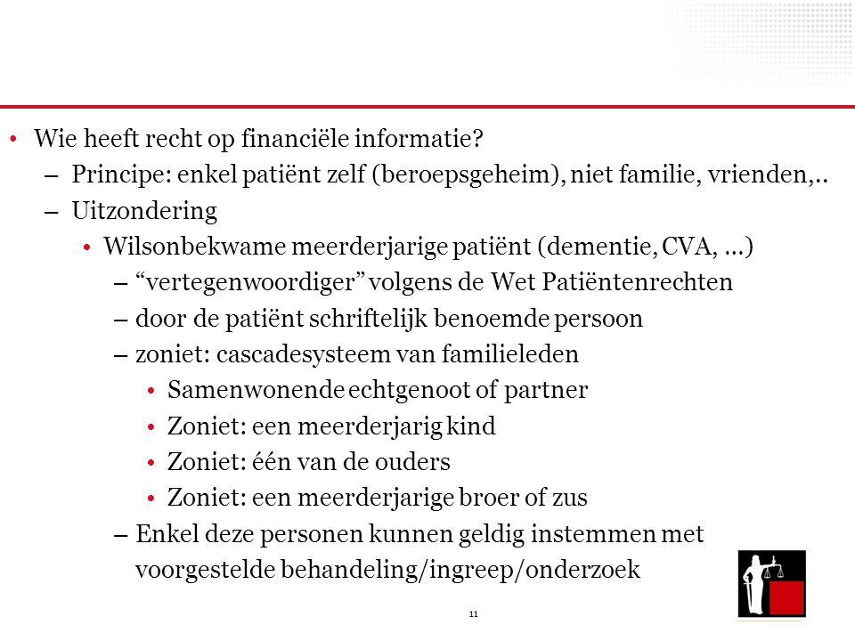 11 Wie heeft recht op financiële informatie? – Principe: enkel patiënt zelf (beroepsgeheim), niet familie, vrienden,.. – Uitzondering Wilsonbekwame me