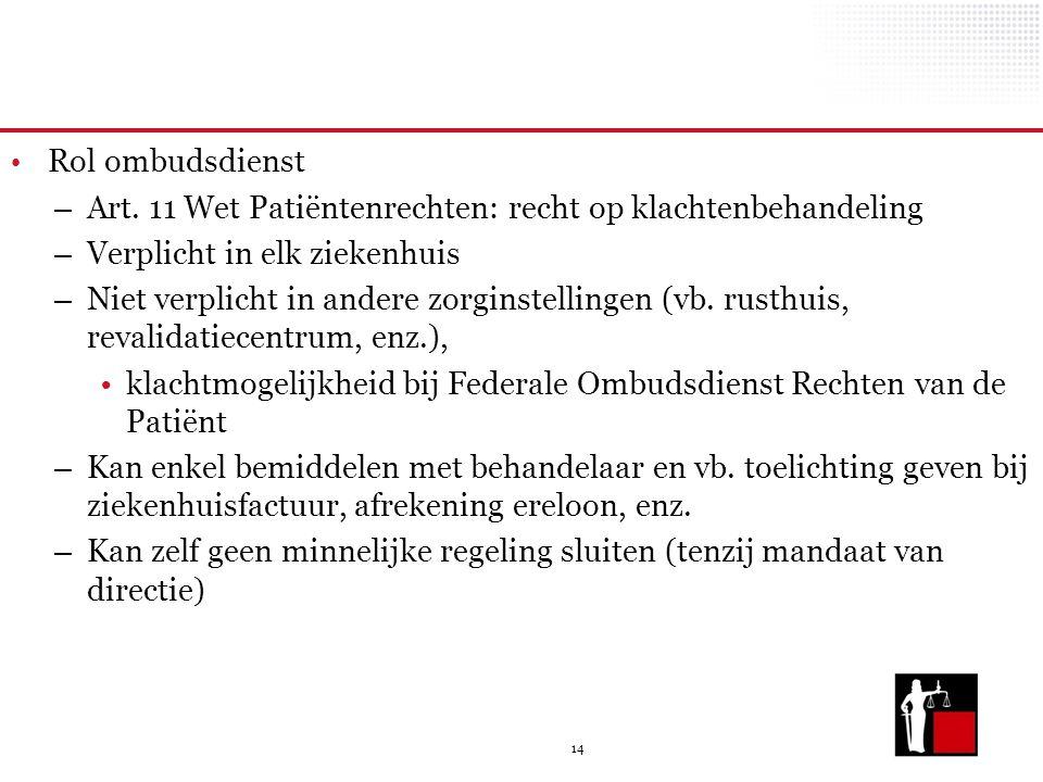 14 Rol ombudsdienst – Art. 11 Wet Patiëntenrechten: recht op klachtenbehandeling – Verplicht in elk ziekenhuis – Niet verplicht in andere zorginstelli