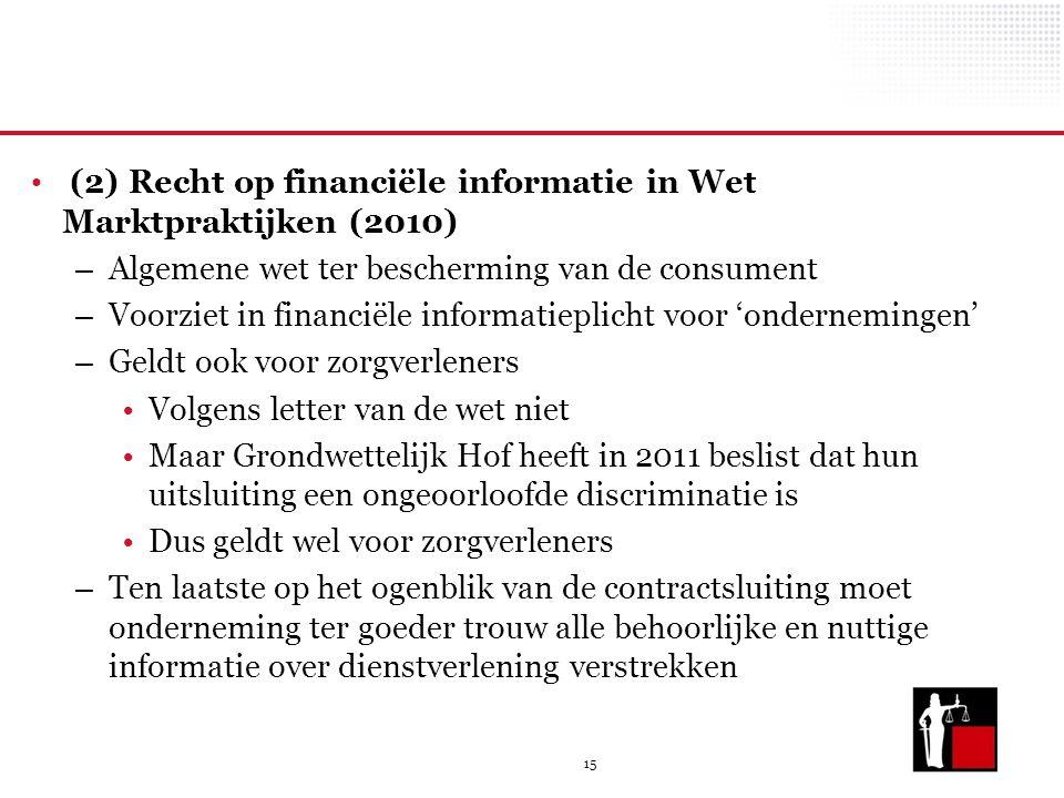 15 (2) Recht op financiële informatie in Wet Marktpraktijken (2010) – Algemene wet ter bescherming van de consument – Voorziet in financiële informati