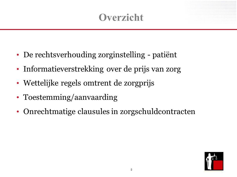 2 Overzicht De rechtsverhouding zorginstelling - patiënt Informatieverstrekking over de prijs van zorg Wettelijke regels omtrent de zorgprijs Toestemm