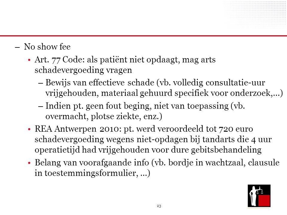23 – No show fee Art. 77 Code: als patiënt niet opdaagt, mag arts schadevergoeding vragen – Bewijs van effectieve schade (vb. volledig consultatie-uur