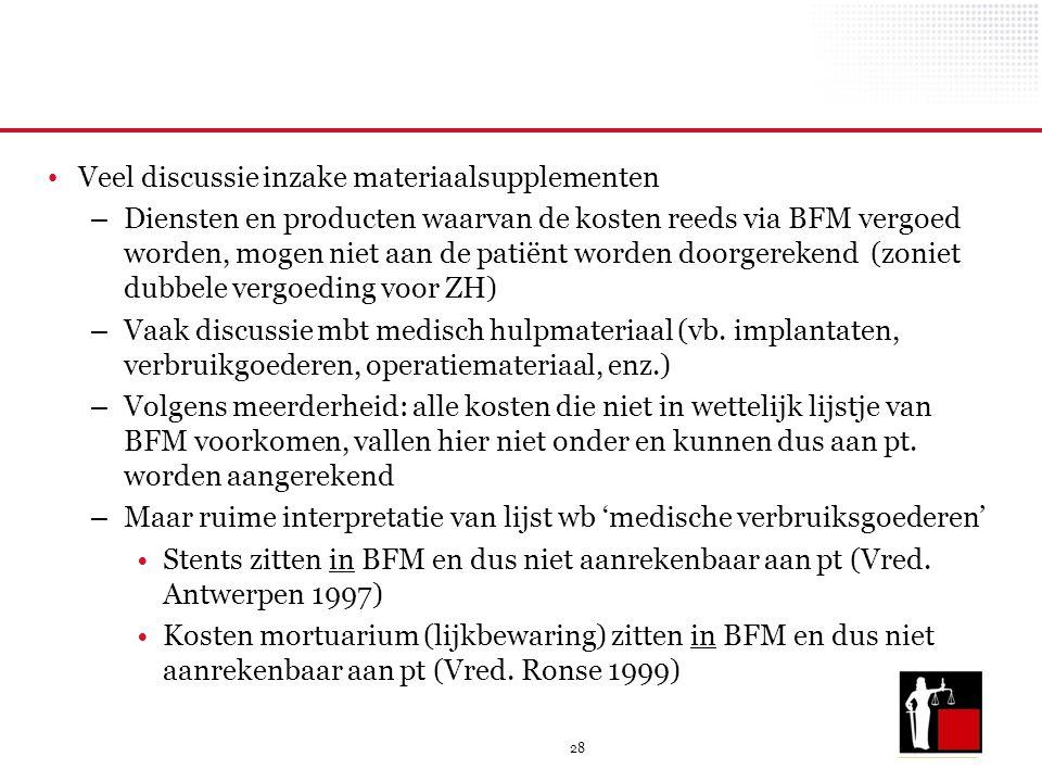 28 Veel discussie inzake materiaalsupplementen – Diensten en producten waarvan de kosten reeds via BFM vergoed worden, mogen niet aan de patiënt worde