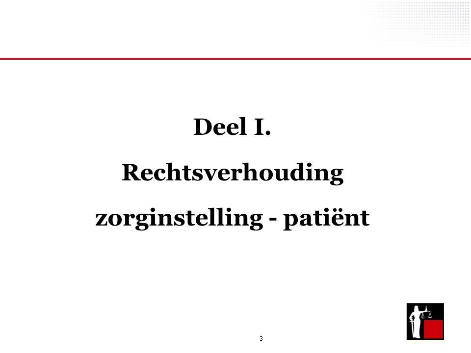 3 Deel I. Rechtsverhouding zorginstelling - patiënt
