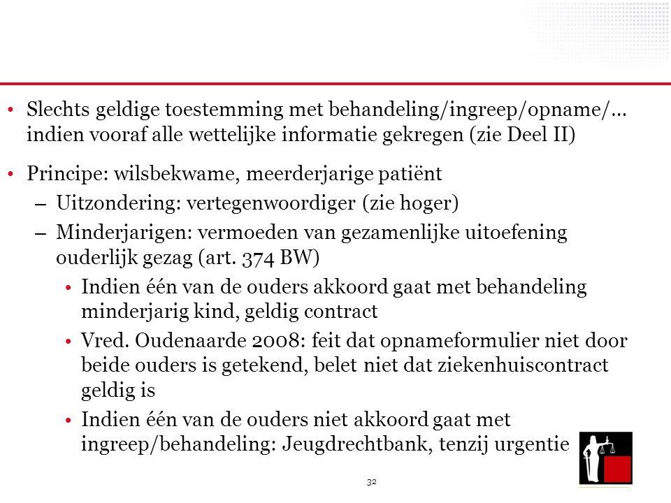 32 Slechts geldige toestemming met behandeling/ingreep/opname/… indien vooraf alle wettelijke informatie gekregen (zie Deel II) Principe: wilsbekwame,
