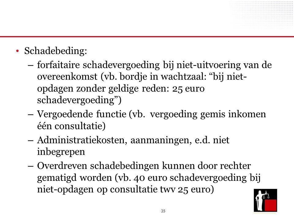 """35 Schadebeding: – forfaitaire schadevergoeding bij niet-uitvoering van de overeenkomst (vb. bordje in wachtzaal: """"bij niet- opdagen zonder geldige re"""