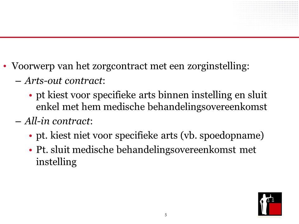 5 Voorwerp van het zorgcontract met een zorginstelling: – Arts-out contract: pt kiest voor specifieke arts binnen instelling en sluit enkel met hem me