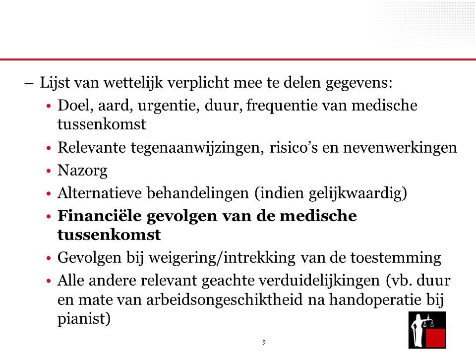9 – Lijst van wettelijk verplicht mee te delen gegevens: Doel, aard, urgentie, duur, frequentie van medische tussenkomst Relevante tegenaanwijzingen,