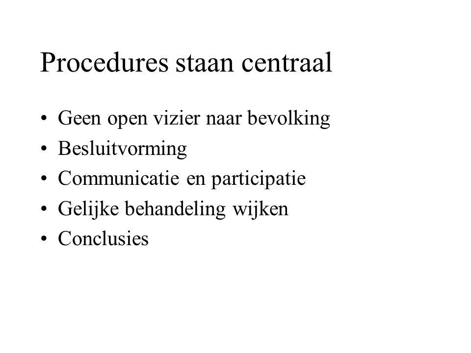 Procedures staan centraal Geen open vizier naar bevolking Besluitvorming Communicatie en participatie Gelijke behandeling wijken Conclusies