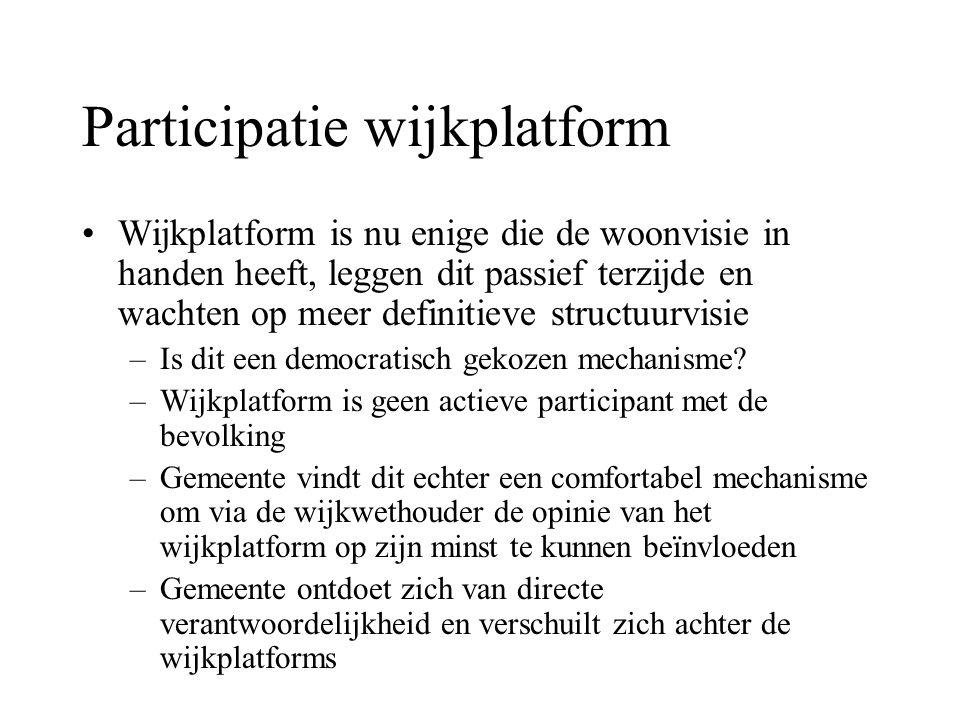 Participatie wijkplatform Wijkplatform is nu enige die de woonvisie in handen heeft, leggen dit passief terzijde en wachten op meer definitieve structuurvisie –Is dit een democratisch gekozen mechanisme.