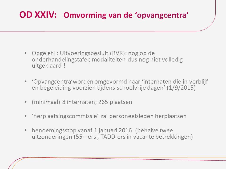 OD XXIV: Omvorming van de 'opvangcentra' Opgelet! : Uitvoeringsbesluit (BVR): nog op de onderhandelingstafel; modaliteiten dus nog niet volledig uitge