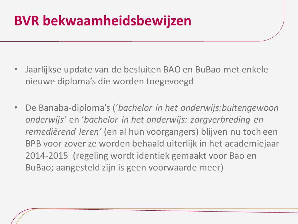 BVR bekwaamheidsbewijzen Jaarlijkse update van de besluiten BAO en BuBao met enkele nieuwe diploma's die worden toegevoegd De Banaba-diploma's ('bache