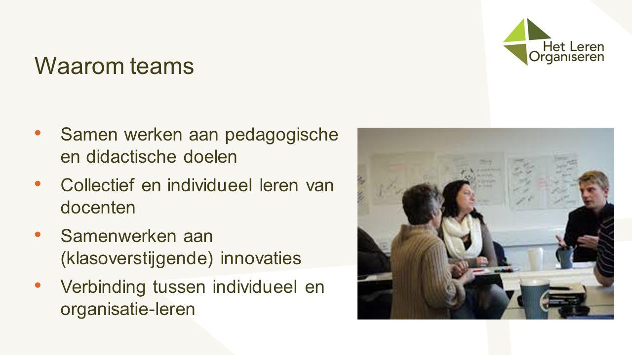 Waarom teams Samen werken aan pedagogische en didactische doelen Collectief en individueel leren van docenten Samenwerken aan (klasoverstijgende) inno