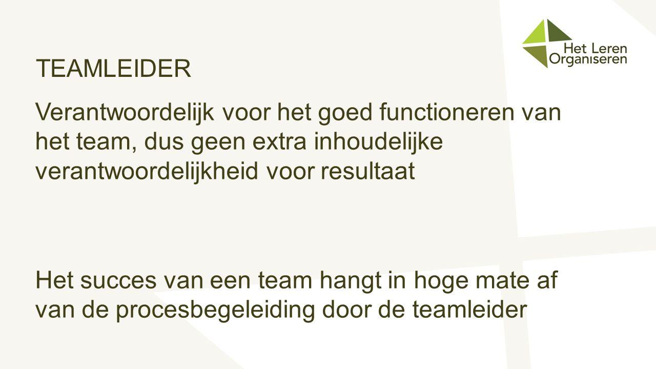 TEAMLEIDER Verantwoordelijk voor het goed functioneren van het team, dus geen extra inhoudelijke verantwoordelijkheid voor resultaat Het succes van ee