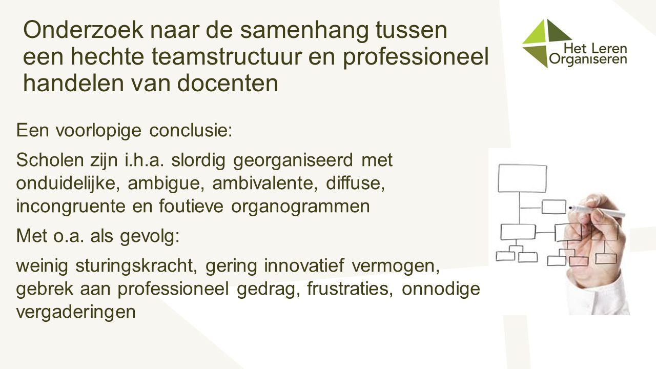 Onderzoek naar de samenhang tussen een hechte teamstructuur en professioneel handelen van docenten Een voorlopige conclusie: Scholen zijn i.h.a. slord