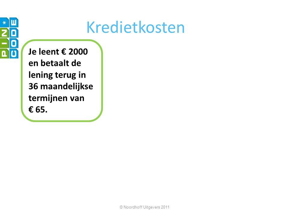 Kredietkosten Je leent € 2000 en betaalt de lening terug in 36 maandelijkse termijnen van € 65.