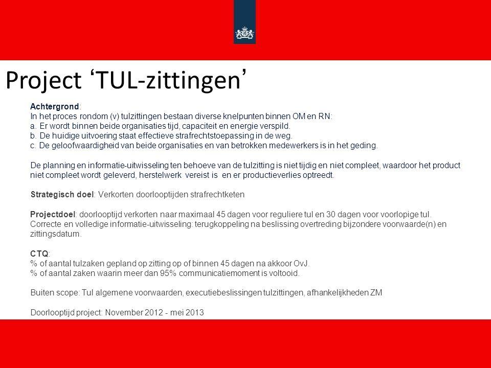 Project 'TUL-zittingen' Achtergrond: In het proces rondom (v) tulzittingen bestaan diverse knelpunten binnen OM en RN: a.
