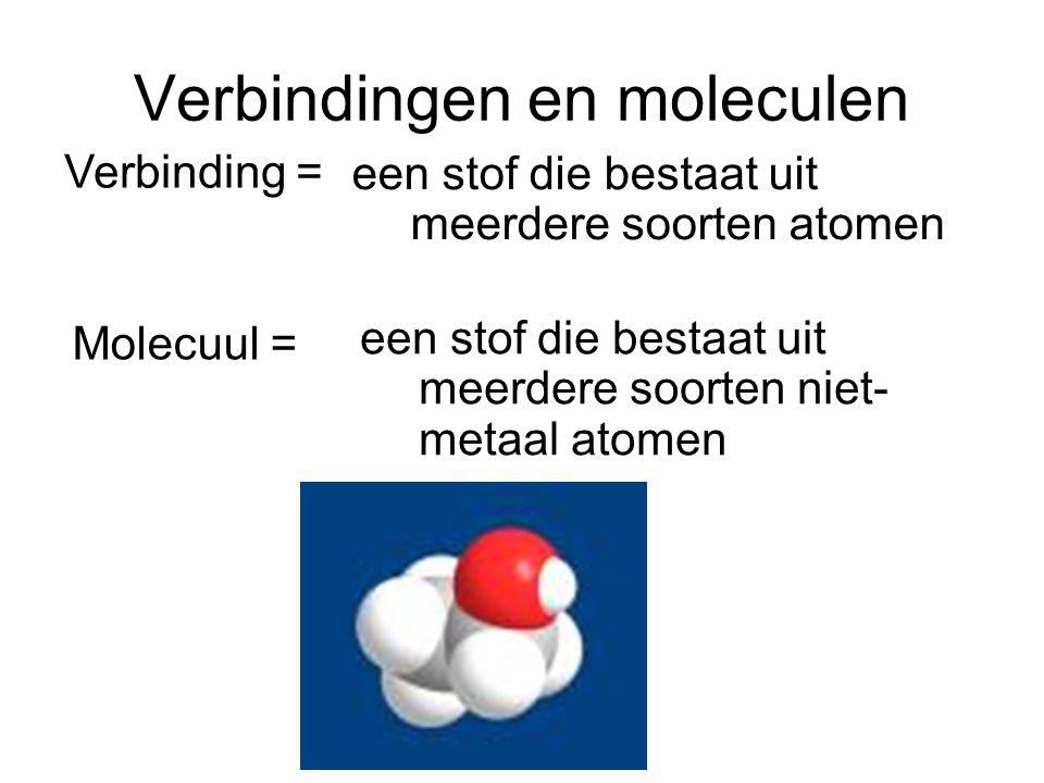 Verbindingen en moleculen een stof die bestaat uit meerdere soorten atomen Verbinding = een stof die bestaat uit meerdere soorten niet- metaal atomen