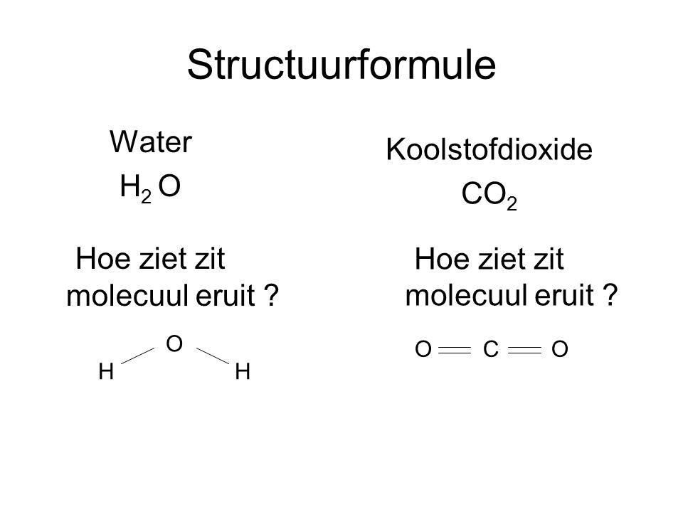 Structuurformule Water H 2 O Hoe ziet zit molecuul eruit ? Koolstofdioxide CO 2 Hoe ziet zit molecuul eruit ? OHHOHHH OCOOCO
