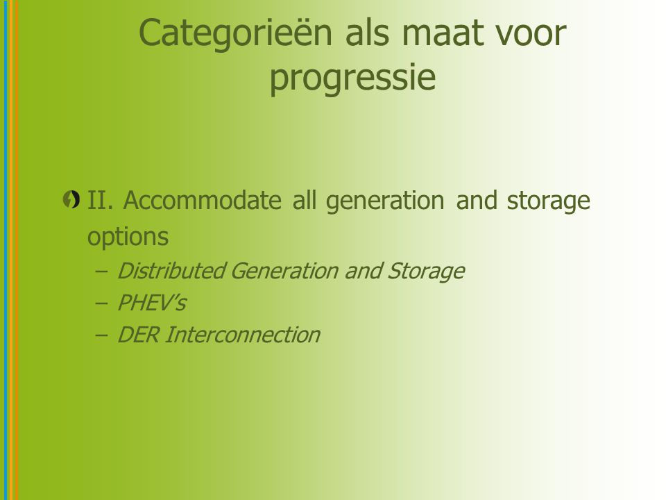 Categorieën als maat voor progressie II. Accommodate all generation and storage options –Distributed Generation and Storage –PHEV's –DER Interconnecti