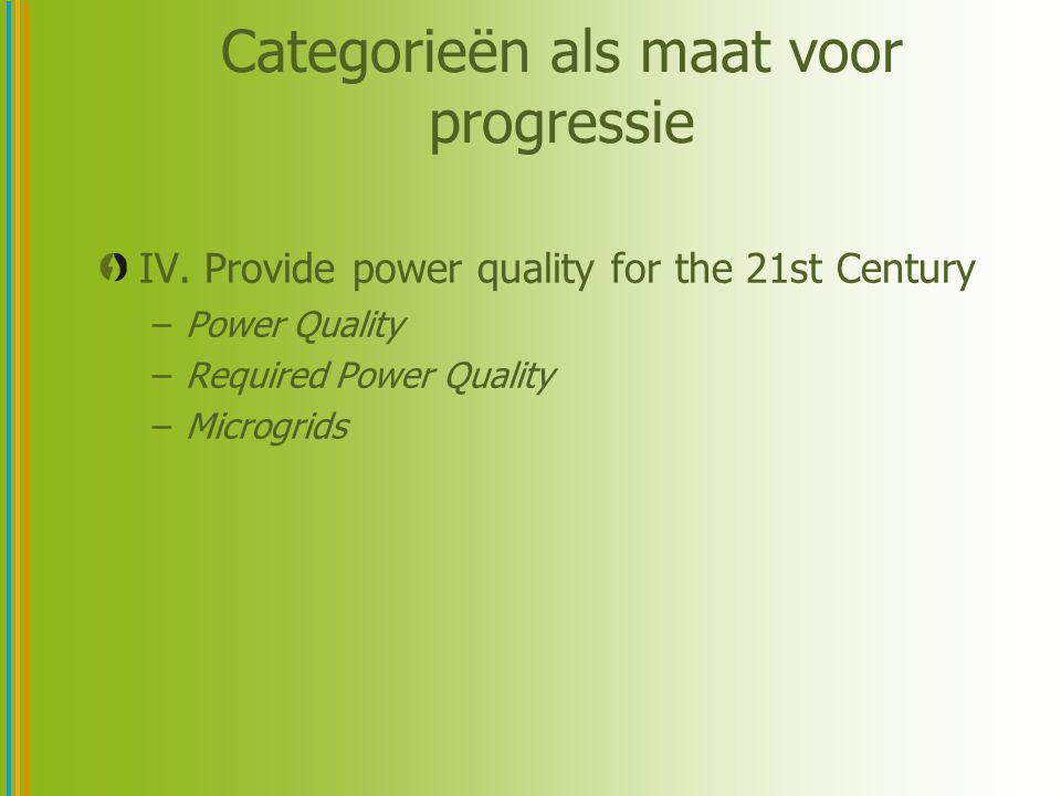 Categorieën als maat voor progressie IV. Provide power quality for the 21st Century –Power Quality –Required Power Quality –Microgrids