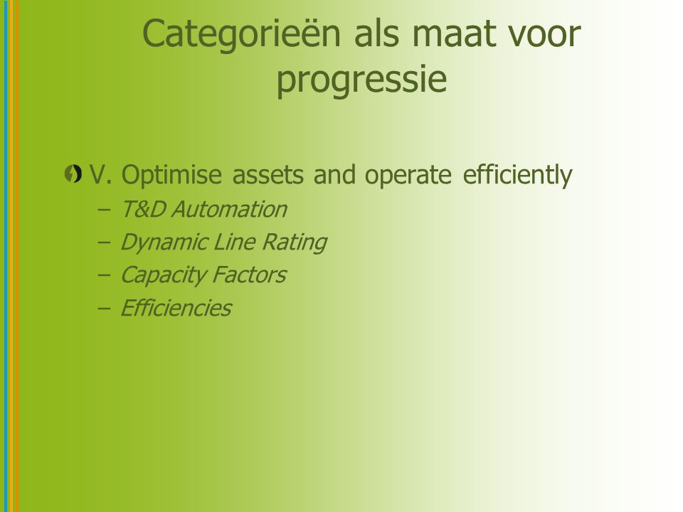 Categorieën als maat voor progressie V. Optimise assets and operate efficiently –T&D Automation –Dynamic Line Rating –Capacity Factors –Efficiencies