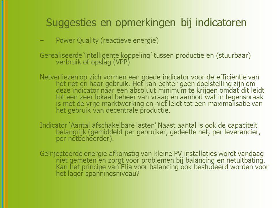 Suggesties en opmerkingen bij indicatoren –Power Quality (reactieve energie) Gerealiseerde 'intelligente koppeling' tussen productie en (stuurbaar) verbruik of opslag (VPP) Netverliezen op zich vormen een goede indicator voor de efficiëntie van het net en haar gebruik.