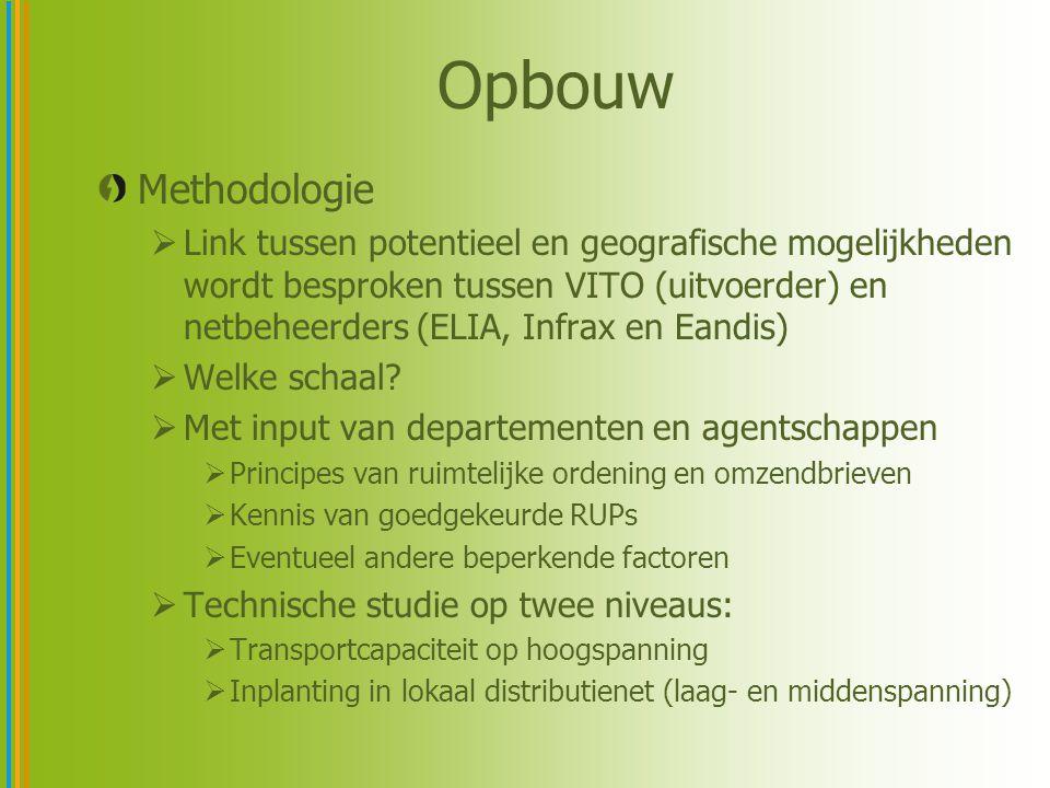 Opbouw Methodologie  Link tussen potentieel en geografische mogelijkheden wordt besproken tussen VITO (uitvoerder) en netbeheerders (ELIA, Infrax en Eandis)  Welke schaal.