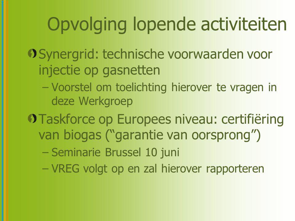 Opvolging lopende activiteiten Synergrid: technische voorwaarden voor injectie op gasnetten –Voorstel om toelichting hierover te vragen in deze Werkgroep Taskforce op Europees niveau: certifiëring van biogas ( garantie van oorsprong ) –Seminarie Brussel 10 juni –VREG volgt op en zal hierover rapporteren