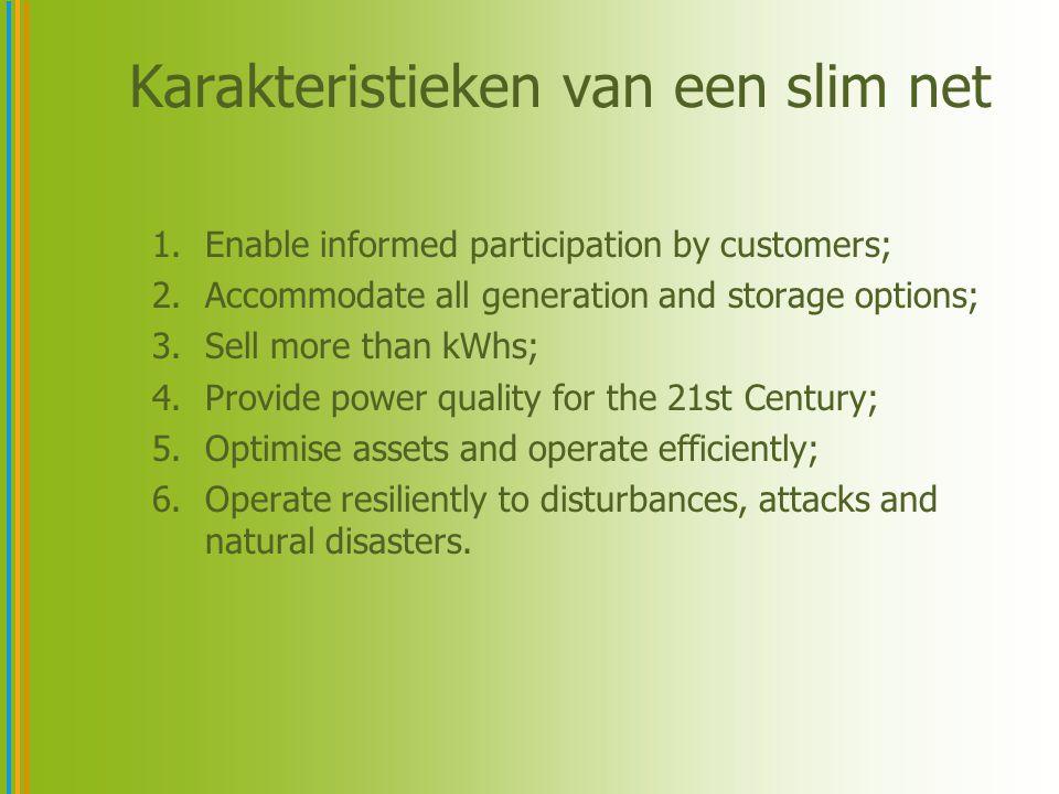 Categorieën als maat voor progressie I.Enable informed participation by customers –Advanced Meters –Dynamic Pricing Signals –Smart Appliances –Demand Side Management –Prosumer