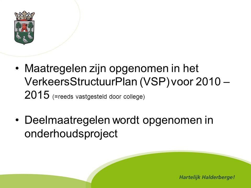 Maatregelen zijn opgenomen in het VerkeersStructuurPlan (VSP) voor 2010 – 2015 (=reeds vastgesteld door college) Deelmaatregelen wordt opgenomen in onderhoudsproject