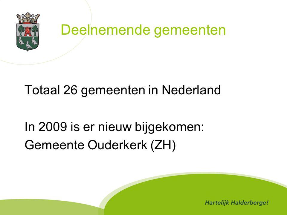 Deelnemende gemeenten Totaal 26 gemeenten in Nederland In 2009 is er nieuw bijgekomen: Gemeente Ouderkerk (ZH)