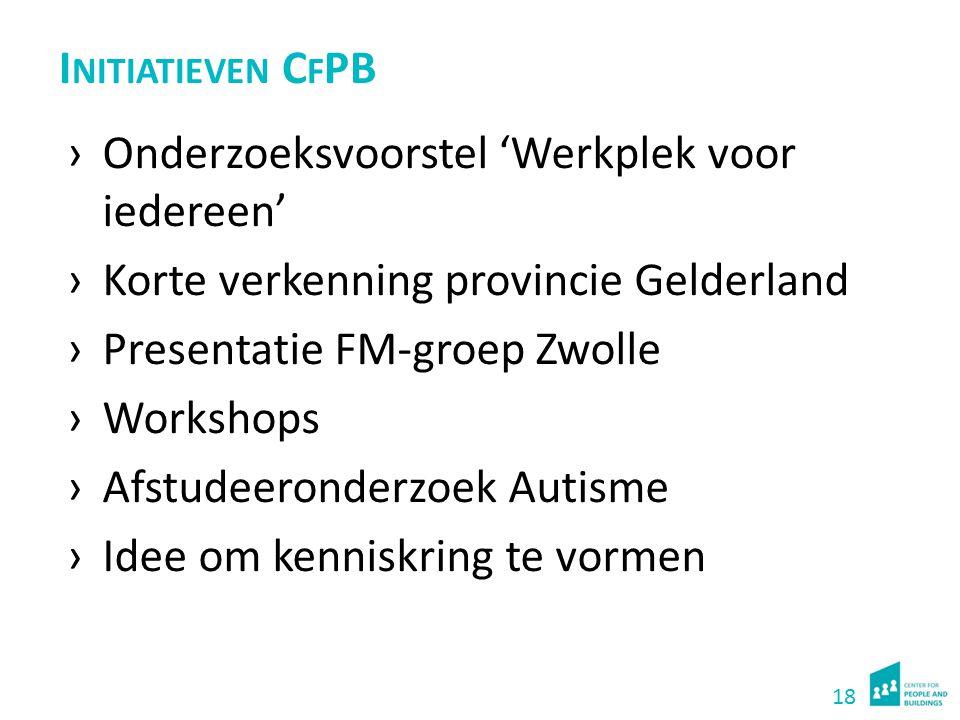 18 I NITIATIEVEN C F PB ›Onderzoeksvoorstel 'Werkplek voor iedereen' ›Korte verkenning provincie Gelderland ›Presentatie FM-groep Zwolle ›Workshops ›A