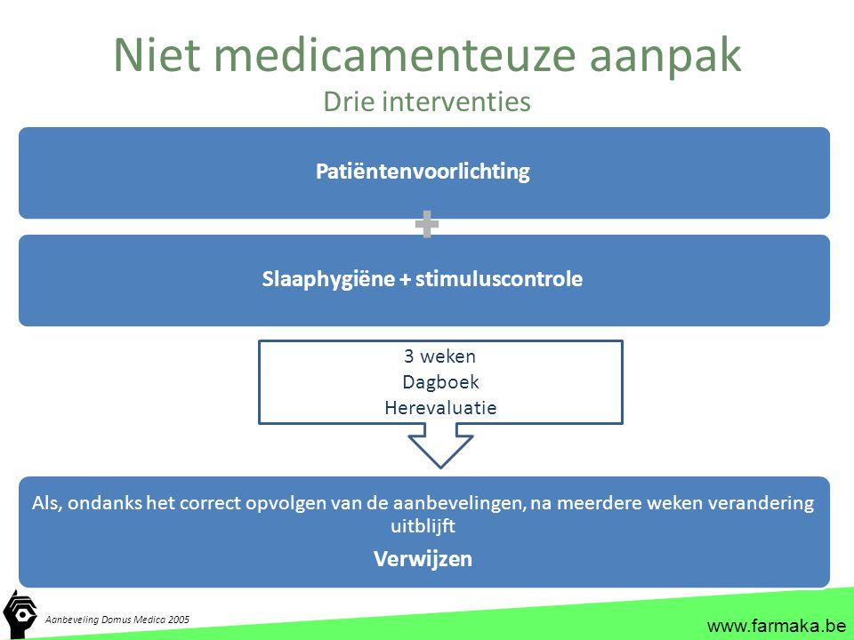 www.farmaka.be Niet medicamenteuze aanpak Drie interventies PatiëntenvoorlichtingSlaaphygiëne + stimuluscontrole Als, ondanks het correct opvolgen van