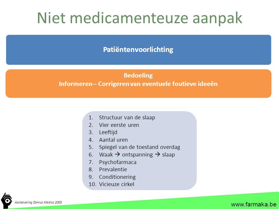 www.farmaka.be Niet medicamenteuze aanpak Patiëntenvoorlichting 1.Structuur van de slaap 2.Vier eerste uren 3.Leeftijd 4.Aantal uren 5.Spiegel van de