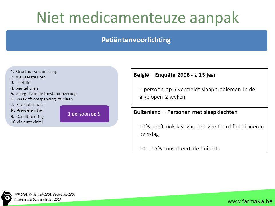 www.farmaka.be Niet medicamenteuze aanpak NIH 2005, Knuistingh 2005, Bayingana 2004 Patiëntenvoorlichting 1.Structuur van de slaap 2.Vier eerste uren