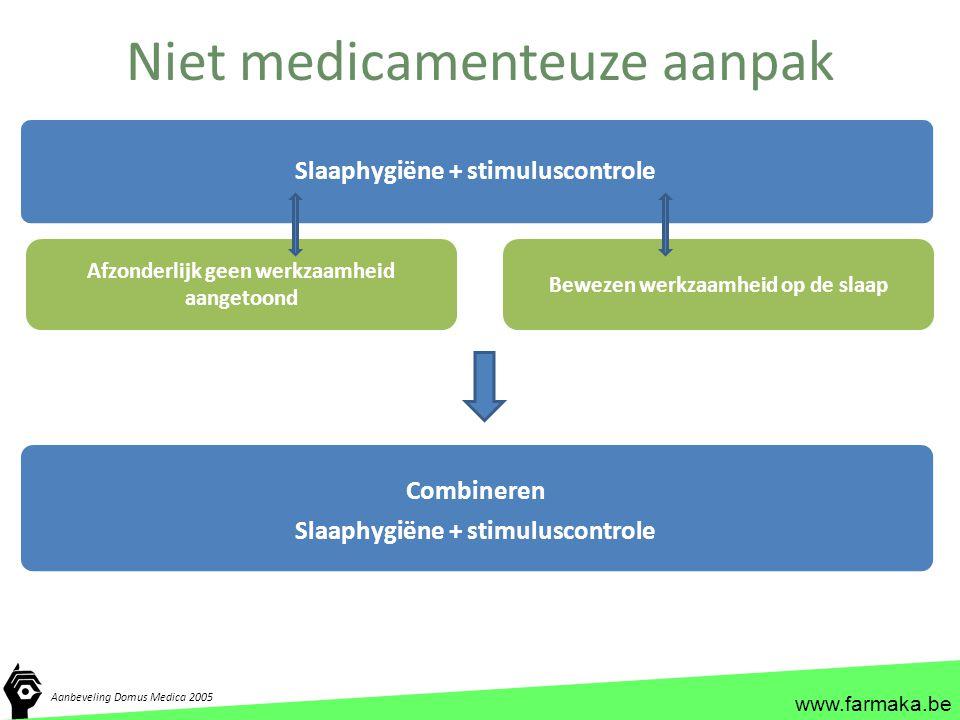 www.farmaka.be Niet medicamenteuze aanpak Slaaphygiëne + stimuluscontrole Afzonderlijk geen werkzaamheid aangetoond Bewezen werkzaamheid op de slaap C