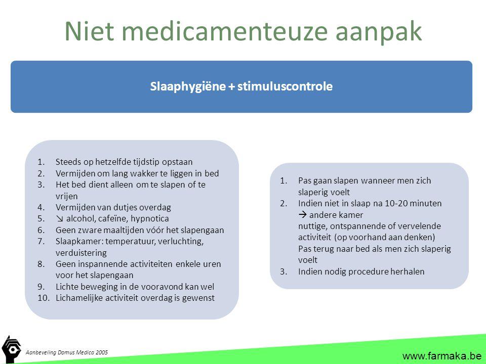www.farmaka.be Niet medicamenteuze aanpak Slaaphygiëne + stimuluscontrole 1.Steeds op hetzelfde tijdstip opstaan 2.Vermijden om lang wakker te liggen