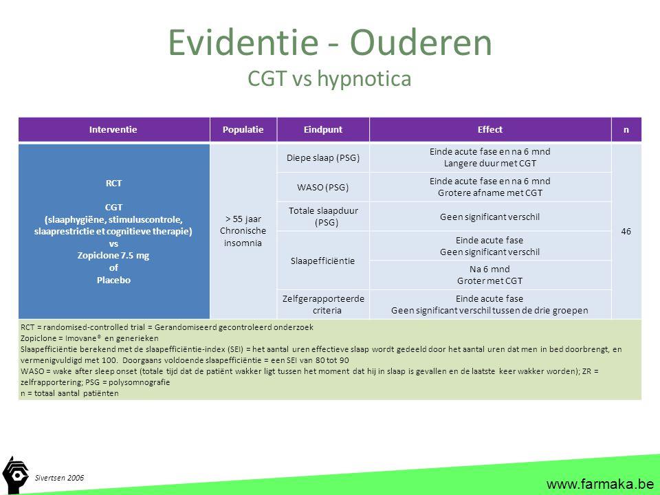 www.farmaka.be Evidentie - Ouderen Sivertsen 2006 InterventiePopulatieEindpuntEffectn RCT CGT (slaaphygiëne, stimuluscontrole, slaaprestrictie et cogn
