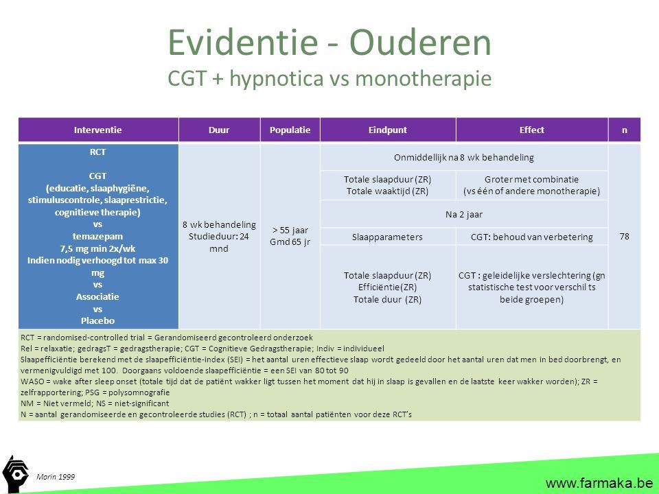 www.farmaka.be InterventieDuurPopulatieEindpuntEffectn RCT CGT (educatie, slaaphygiëne, stimuluscontrole, slaaprestrictie, cognitieve therapie) vs tem