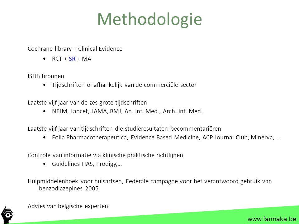 www.farmaka.be Methodologie Cochrane library + Clinical Evidence RCT + SR + MA ISDB bronnen Tijdschriften onafhankelijk van de commerciële sector Laat