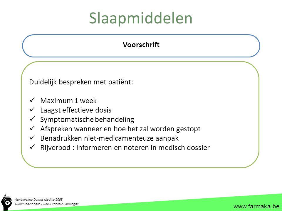 www.farmaka.be Slaapmiddelen Voorschrift Aanbeveling Domus Medica 2005 Hulpmiddelenboek 2006 Federale Campagne Duidelijk bespreken met patiënt: Maximu