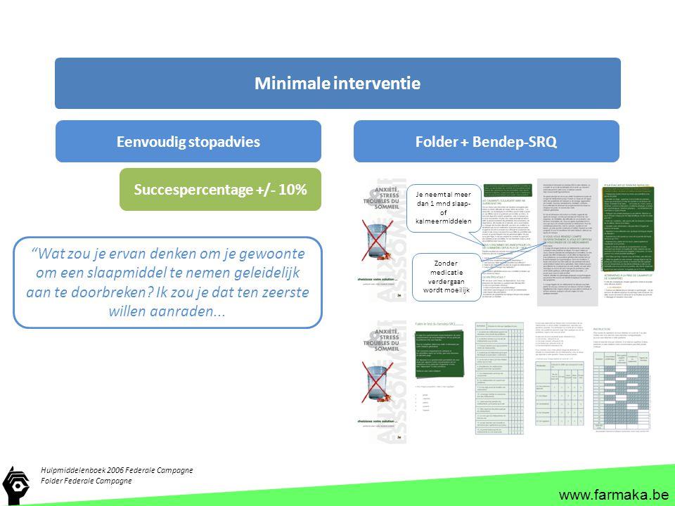 www.farmaka.be Hulpmiddelenboek 2006 Federale Campagne Folder Federale Campagne Minimale interventie Eenvoudig stopadviesFolder + Bendep-SRQ Succesper