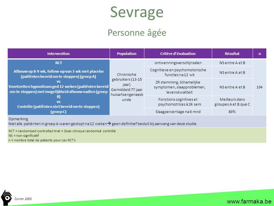 www.farmaka.be Sevrage Curran 2003 Personne âgée InterventionPopulationCritère d'évaluationRésultatn RCT Afbouw op 8-9 wk, follow-up van 3 wk met plac