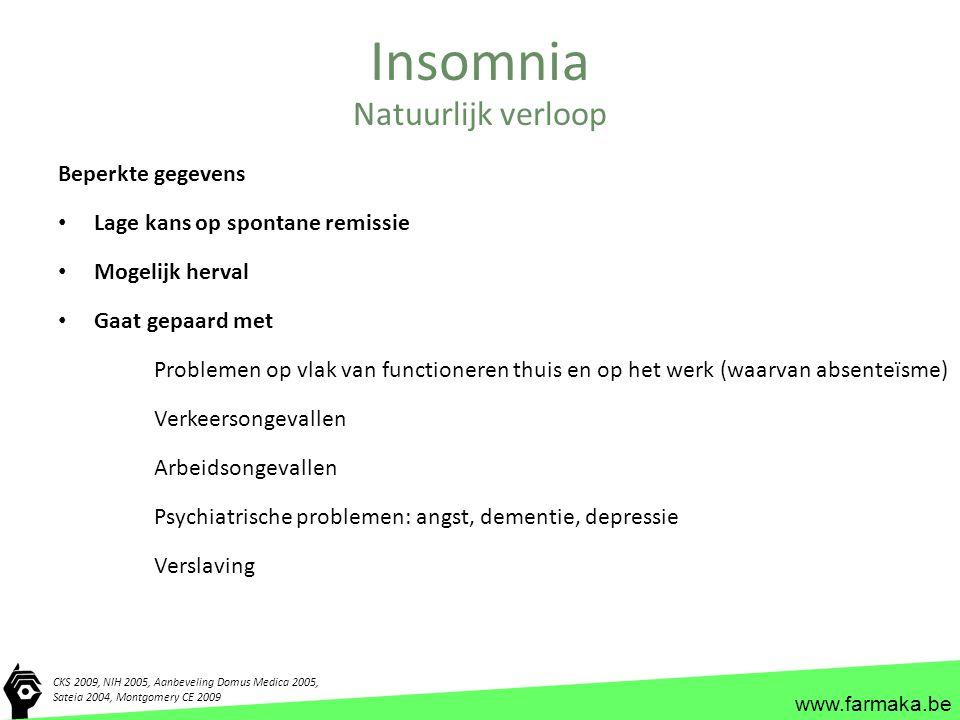 www.farmaka.be Insomnia Beperkte gegevens Lage kans op spontane remissie Mogelijk herval Gaat gepaard met Problemen op vlak van functioneren thuis en