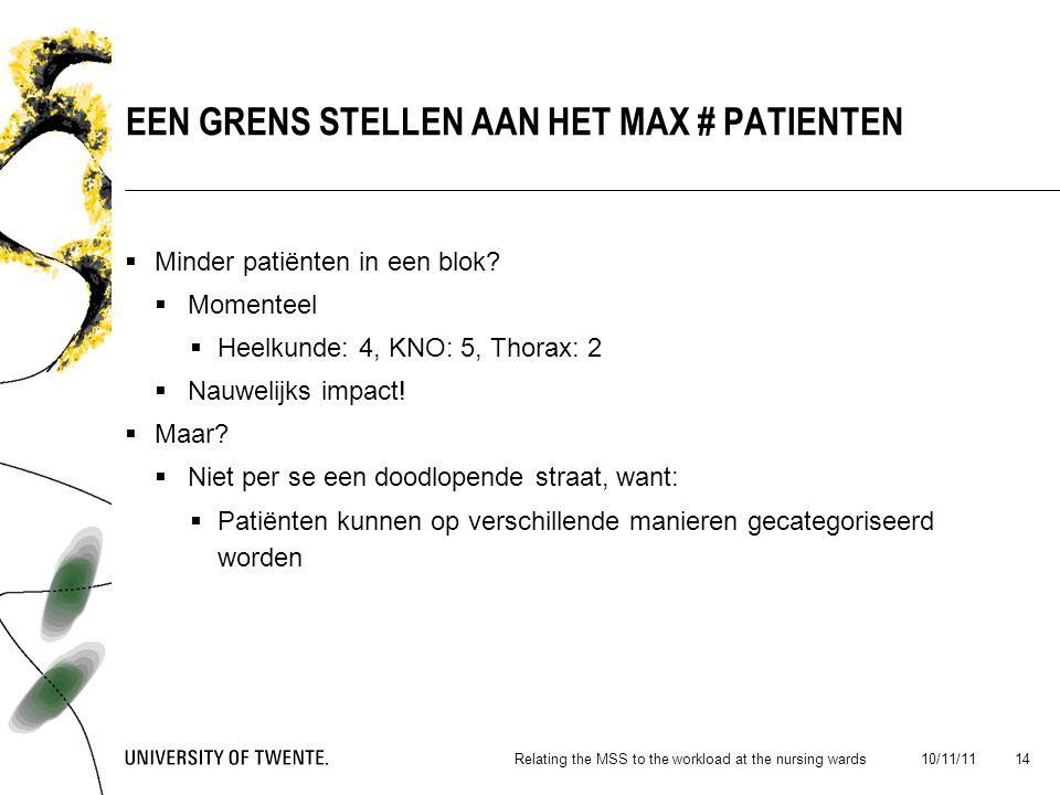  Minder patiënten in een blok.  Momenteel  Heelkunde: 4, KNO: 5, Thorax: 2  Nauwelijks impact.