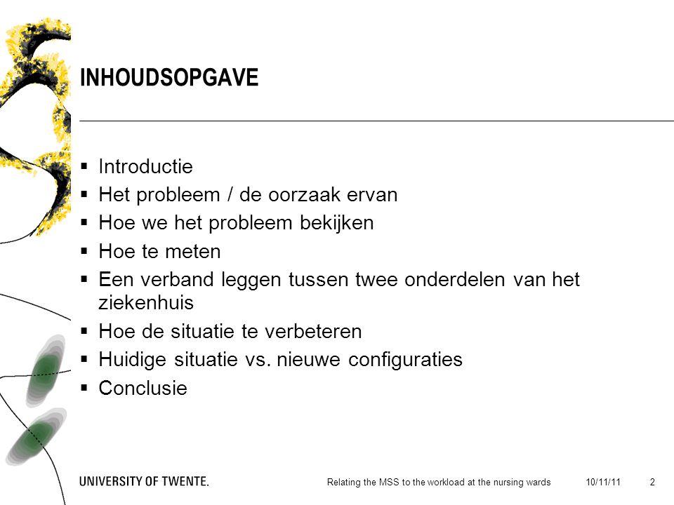 De zorg i.h.a Isala Klinieken Zwolle Patientenlogistiek: het verbeteren van het proces 10/11/11Relating the MSS to the workload at the nursing wards 3 INTRODUCTIE