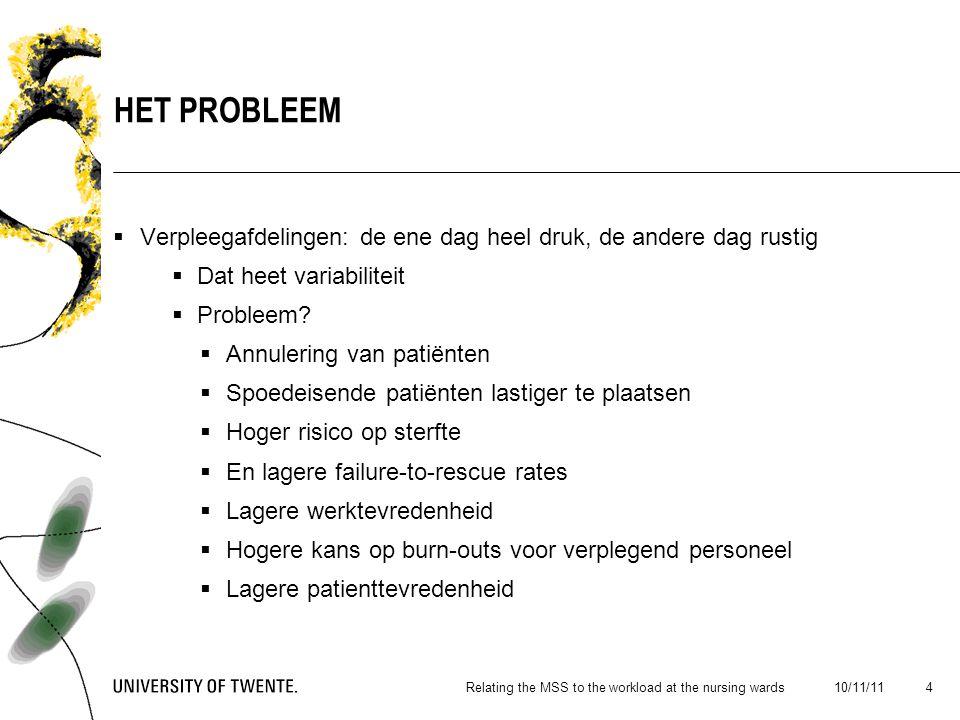  Verpleegafdelingen: de ene dag heel druk, de andere dag rustig  Dat heet variabiliteit  Probleem.