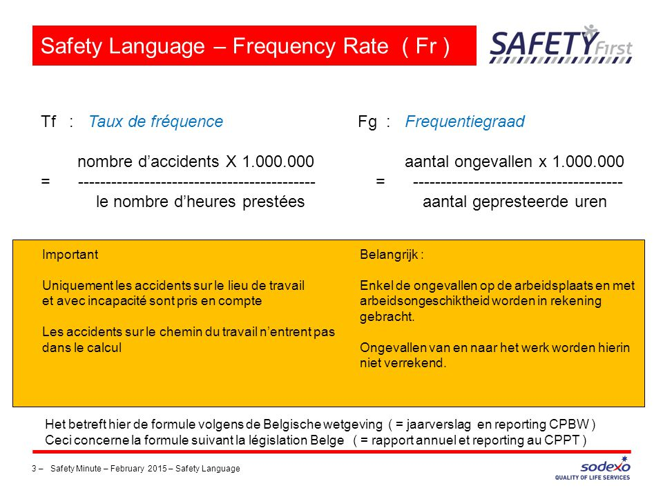 3 –Safety Minute – February 2015 – Safety Language Safety Language – Frequency Rate ( Fr ) Tf : Taux de fréquence Fg : Frequentiegraad nombre d'accide