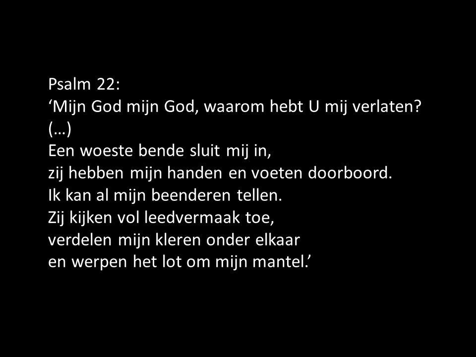 Psalm 22: 'Mijn God mijn God, waarom hebt U mij verlaten? (…) Een woeste bende sluit mij in, zij hebben mijn handen en voeten doorboord. Ik kan al mij